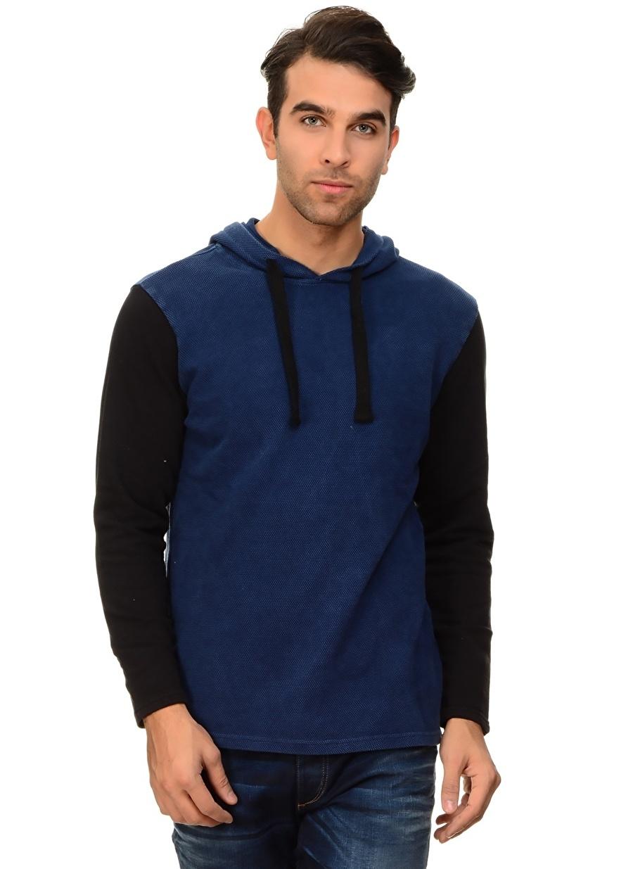 XS Neon Lacivert T-Box Kapüşonlu Sweatshırt Spor Erkek Giyim Sweatshirt