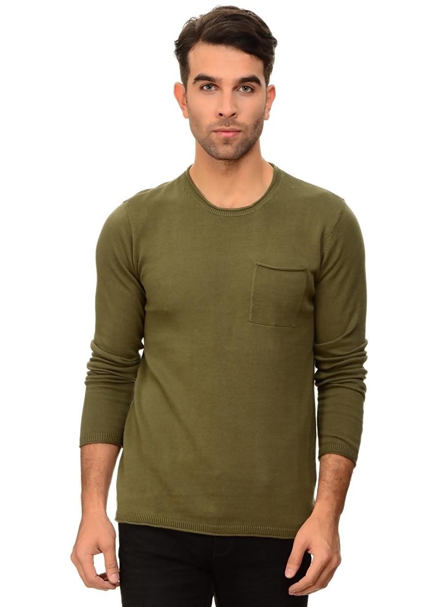 L Yeşil Blend Kazak Erkek Giyim Hırka