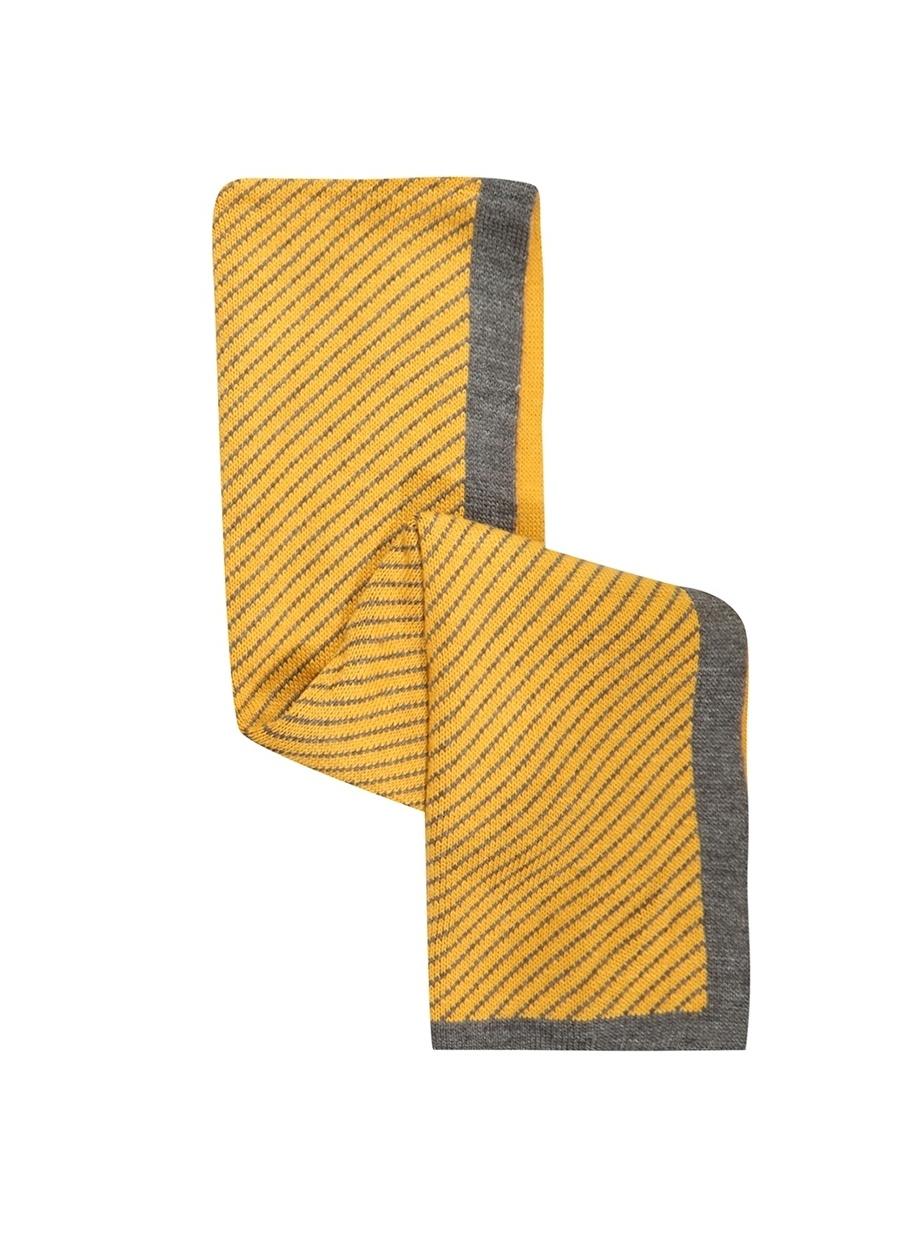 Standart Sarı Limon Çizgili Atkı Kadın Aksesuar Bere Eldiven