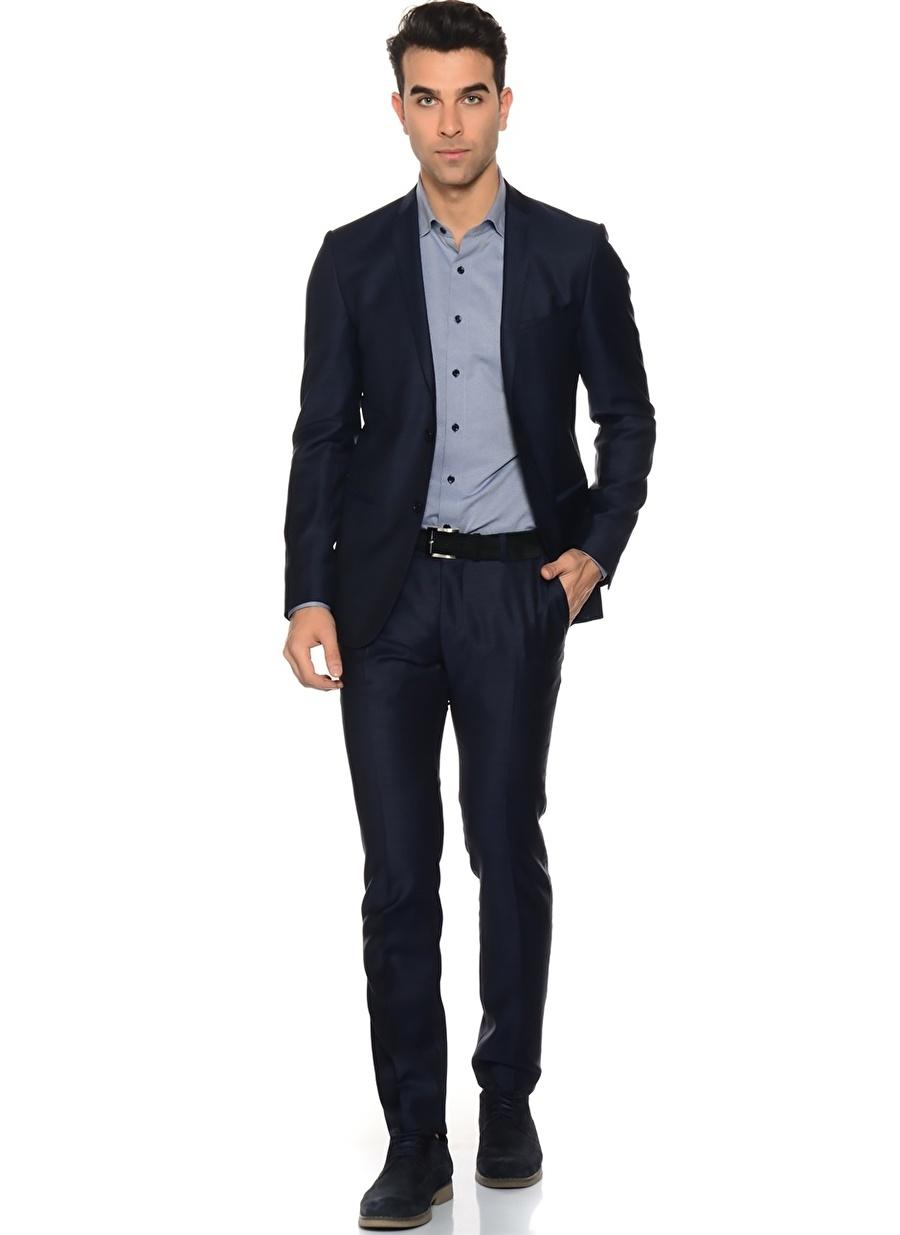 56-6 Koyu Lacivert Network Takım Elbise Erkek Giyim