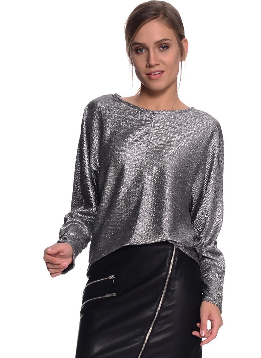 40 Gümüş Twist Bluz Kadın Giyim Gömlek
