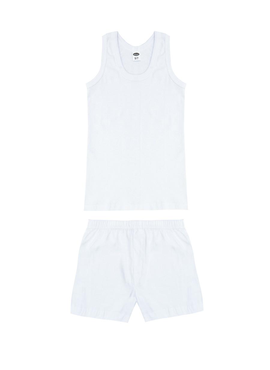 5 Yaş Erkek Beyaz Limon İç Giyim Atlet Çocuk Ev Fanila