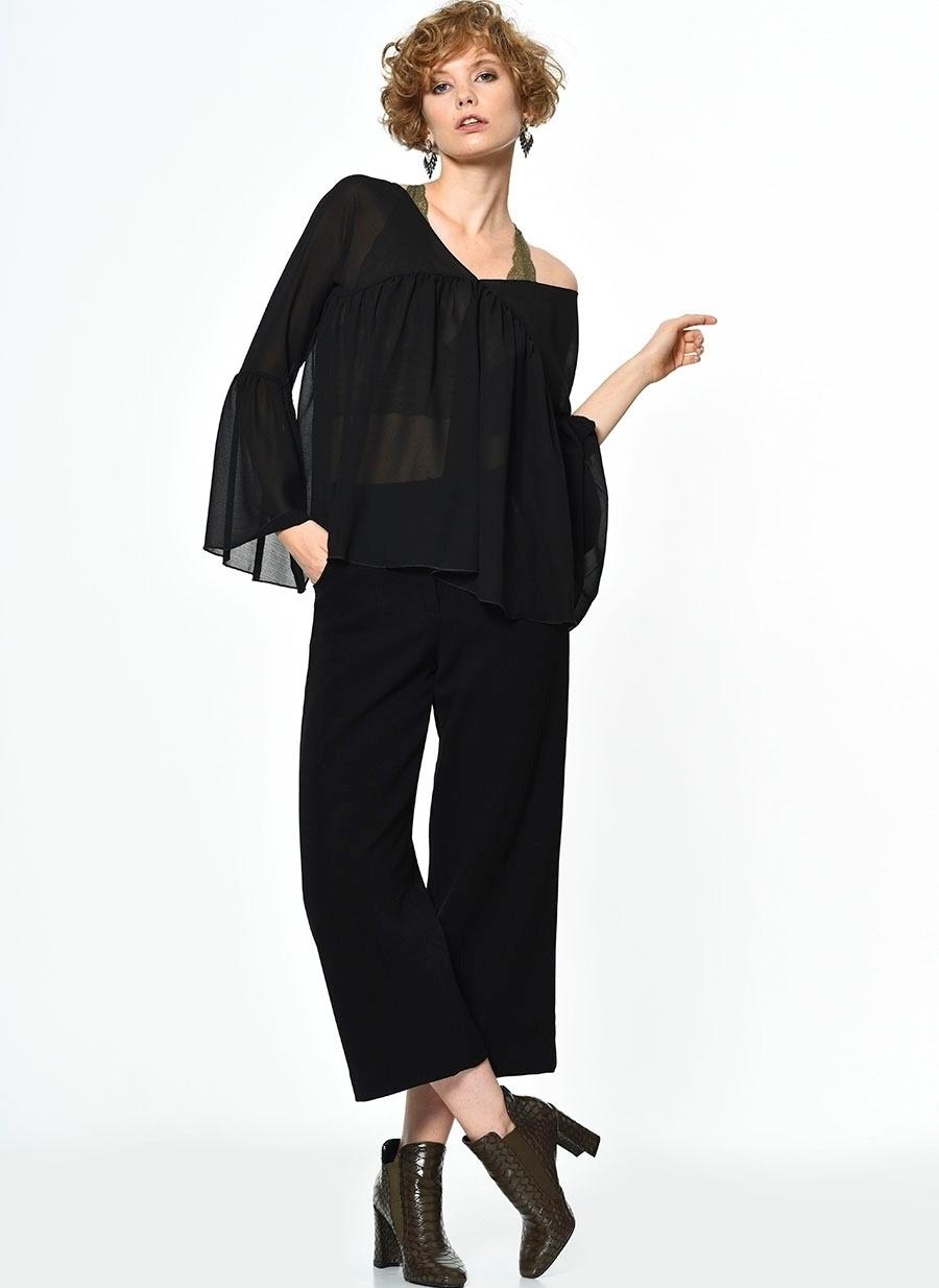 S Siyah Cubic Pantolon Kadın Giyim