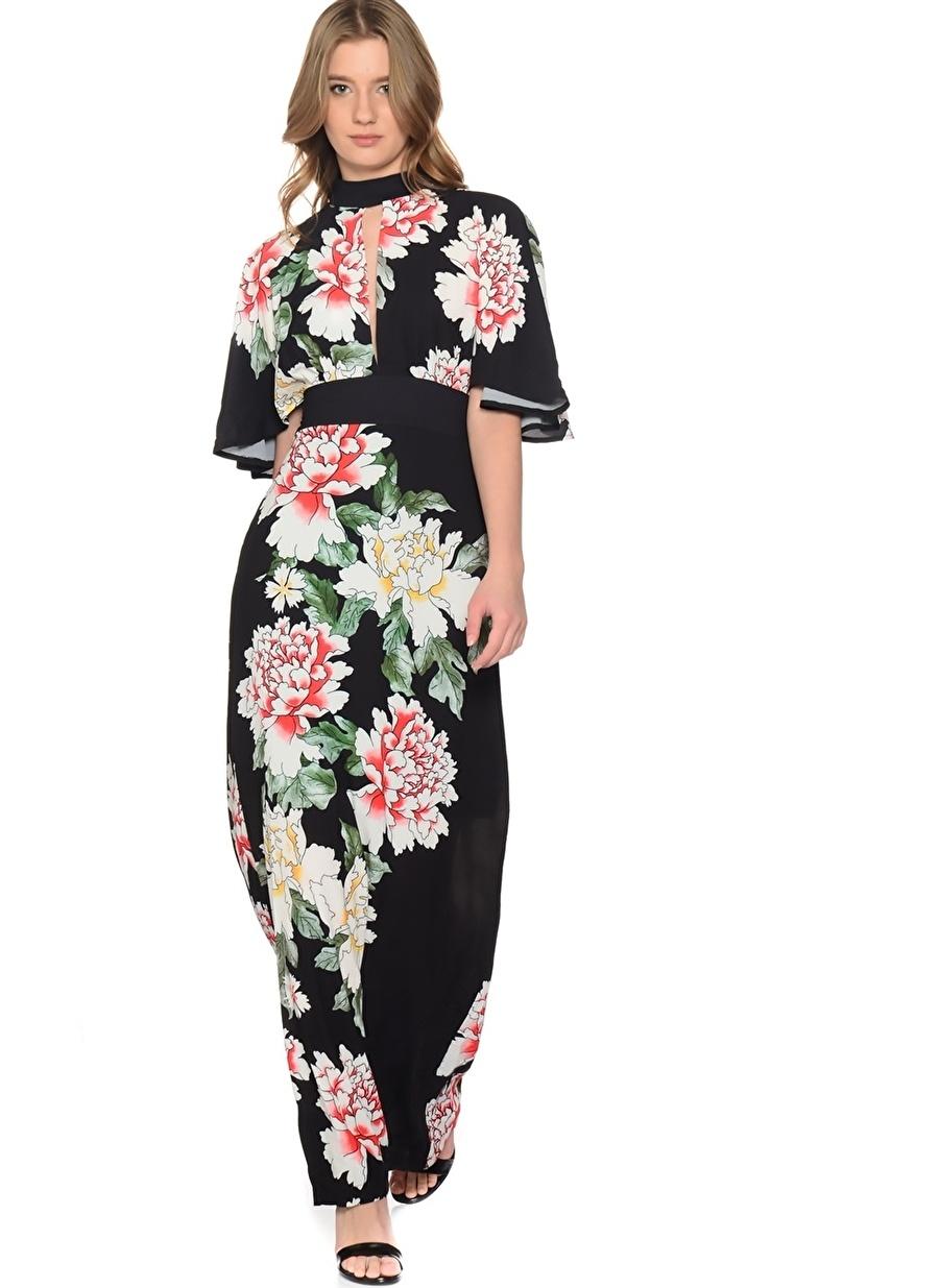 42 Siyah Liquorish Çiçek Desenli Elbise Kadın Giyim