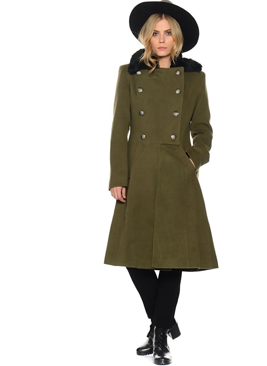 36 Yeşil Liquorish Peluş Yakalı Kaban Kadın Dış Giyim