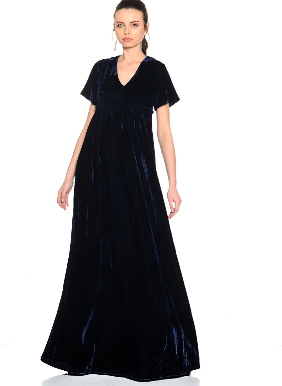 XS Mavi Wild Pony Maxi V Yaka Elbise Kadın Giyim