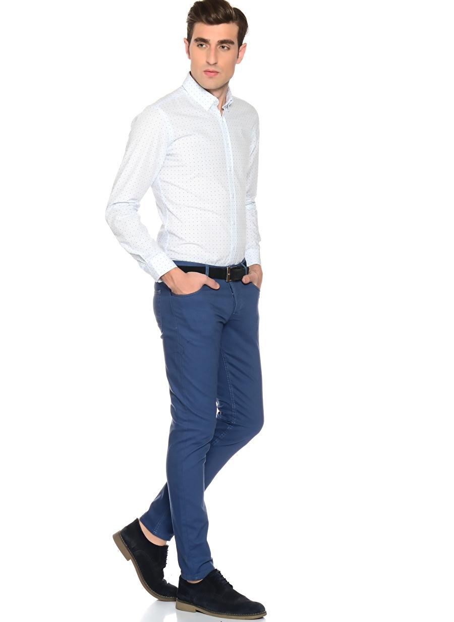 38-32 Neon Lacivert Loft Klasik Pantolon Erkek Giyim