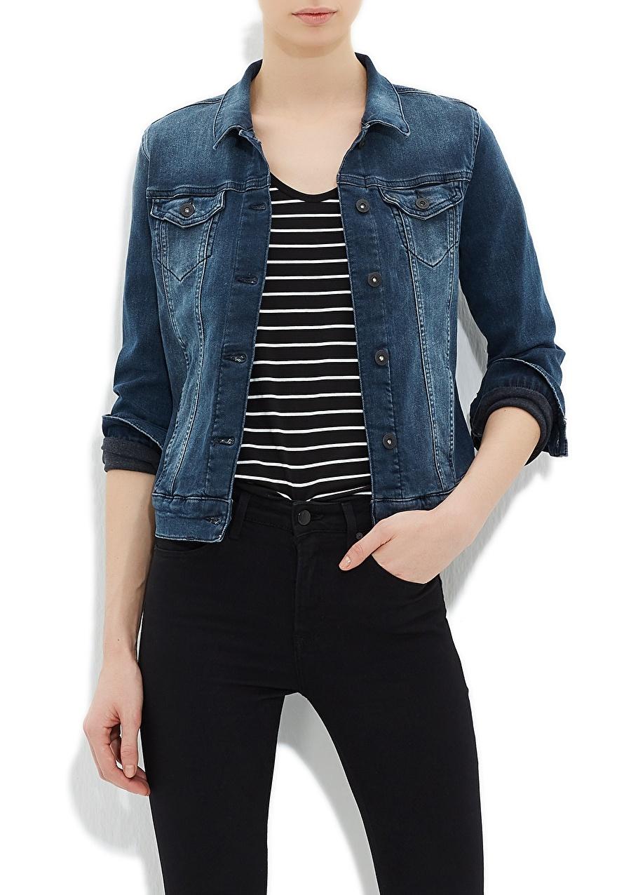 XL Renksiz Mavi Daisy Foggy Retro Str Ceket Kadın Giyim Yelek