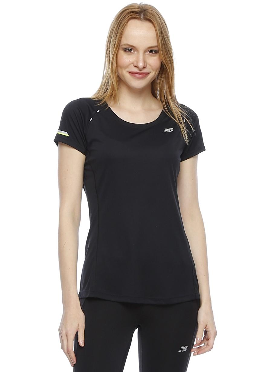 XS Sarı New Balance WT63223 Siyah T-Shirt Spor Kadın Giyim T-shirt