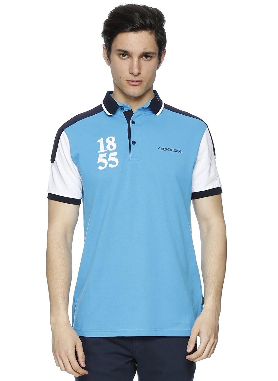 2XL Koyu Turkuaz George Hogg Polo Yaka Mavi T-Shirt Erkek Giyim T-shirt Atlet