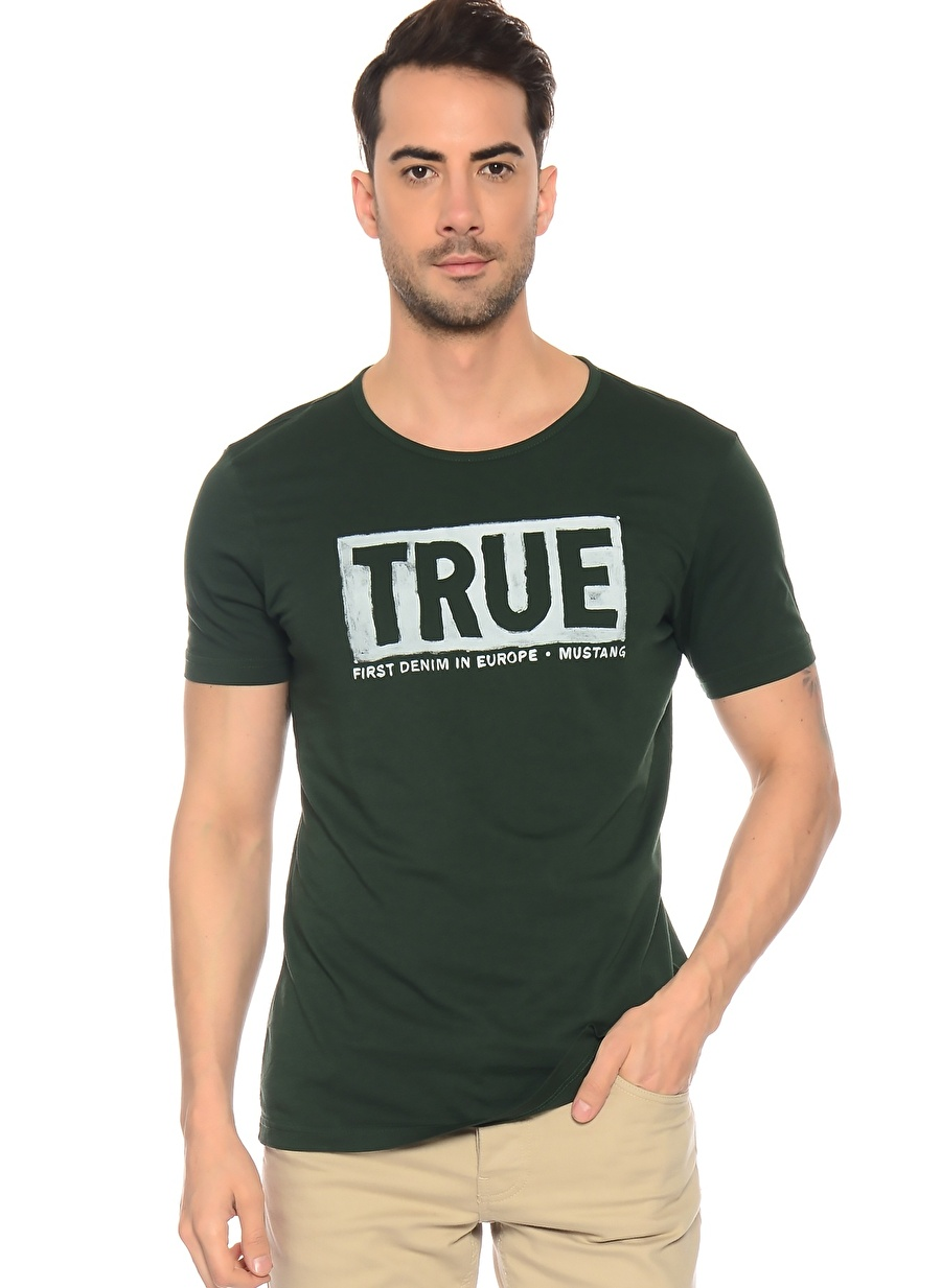 2XL Yeşil Mustang T-Shirt Spor Erkek Giyim T-shirt