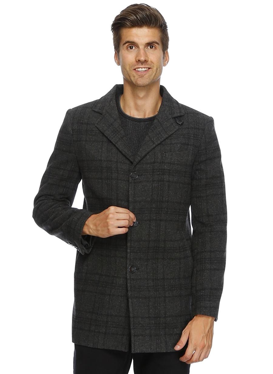L Koyu Lacivert Cotton Bar Ekoseli Kaban Erkek Dış Giyim