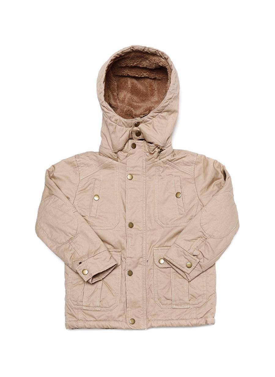 6 Yaş Erkek Bej Limon Kapüşonlu Kaban Çocuk Dış Giyim Trençkot Yağmurluk