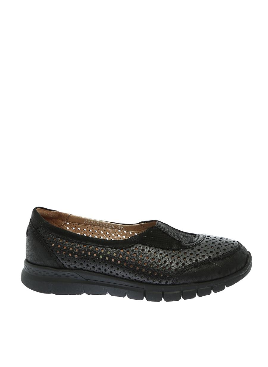 38 Siyah Forelli Düz Ayakkabı Çanta Kadın