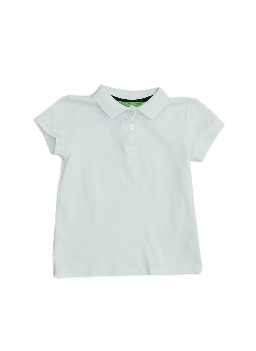 12 Yaş Kadın Beyaz Limon Polo Yaka T-Shırt Çocuk Giyim T-shirt
