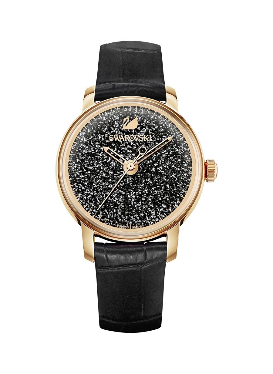 Standart Renksiz Swarovski 5295377 Crystalline Hours Saat Deri Kayış Siyah Rose Altın tone Kadın Aksesuar