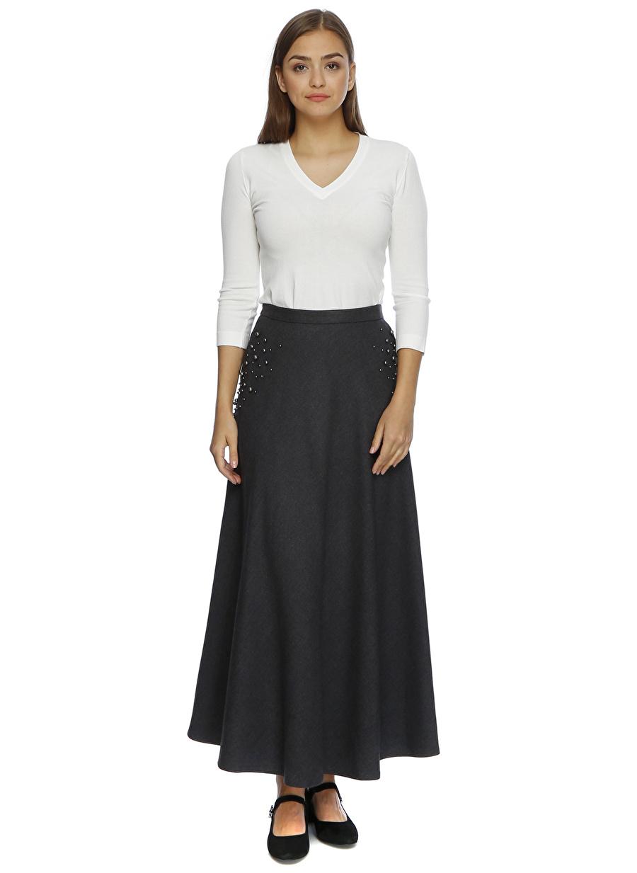 40 Açık Gri Beymen Club İnci Detaylı Etek Kadın Giyim