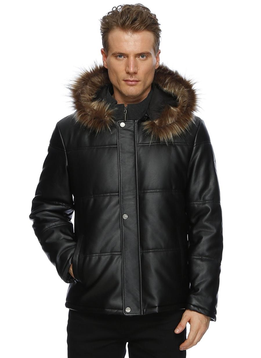 56 Siyah Pierre Cardin Deri Kürk Kapüşonlu Mont Erkek Dış Giyim