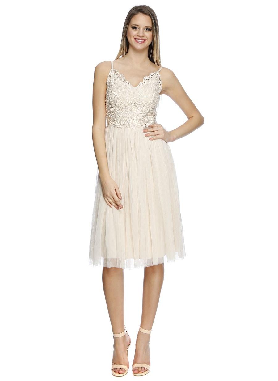 38 Bej Little Mistress Elbise Kadın Giyim