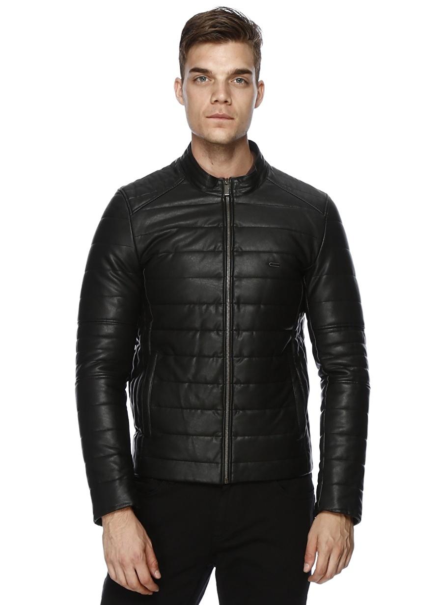 46 Siyah Pierre Cardin Deri Mont Erkek Dış Giyim