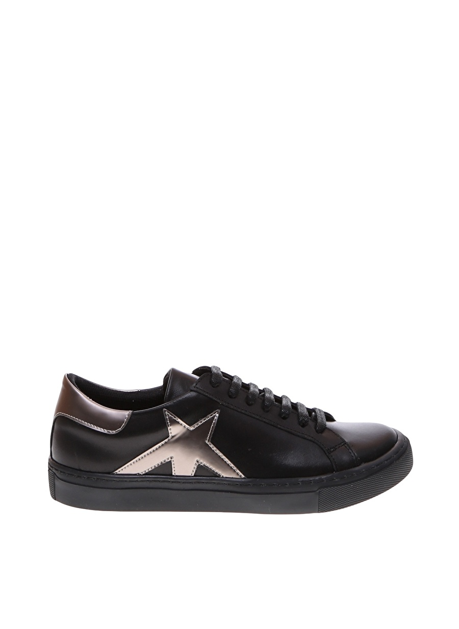37 Siyah Outpost Lab Metalik Detaylı Düz Ayakkabı Çanta Kadın