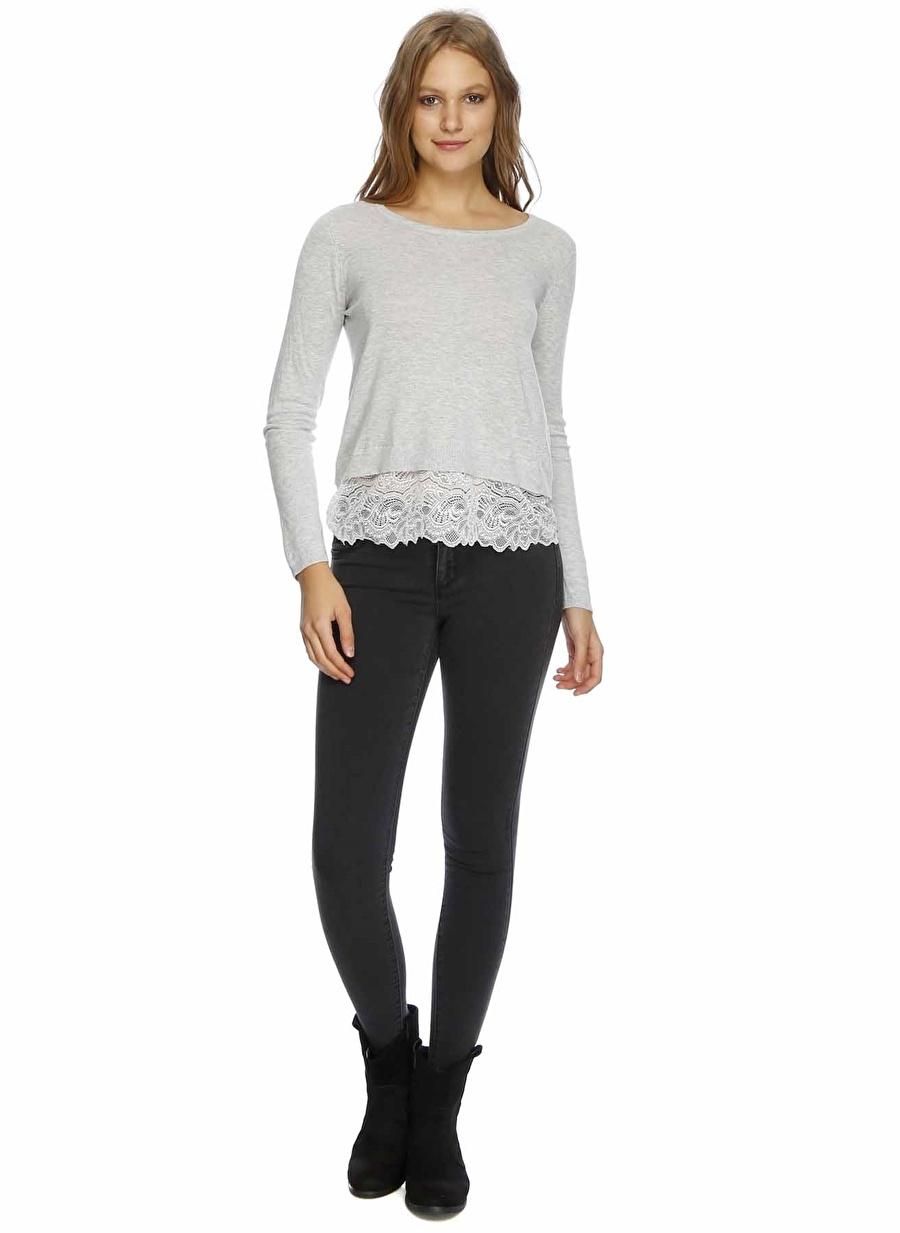 XS Füme Melanj Only Denim Pantolon Kadın Giyim Jean Skinny
