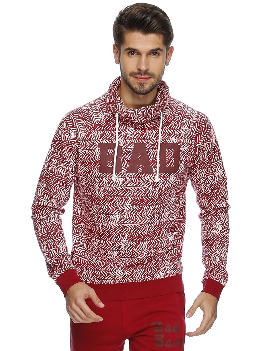 M Kırmızı Bad Bear Desenli Sweatshırt Spor Erkek Giyim Sweatshirt