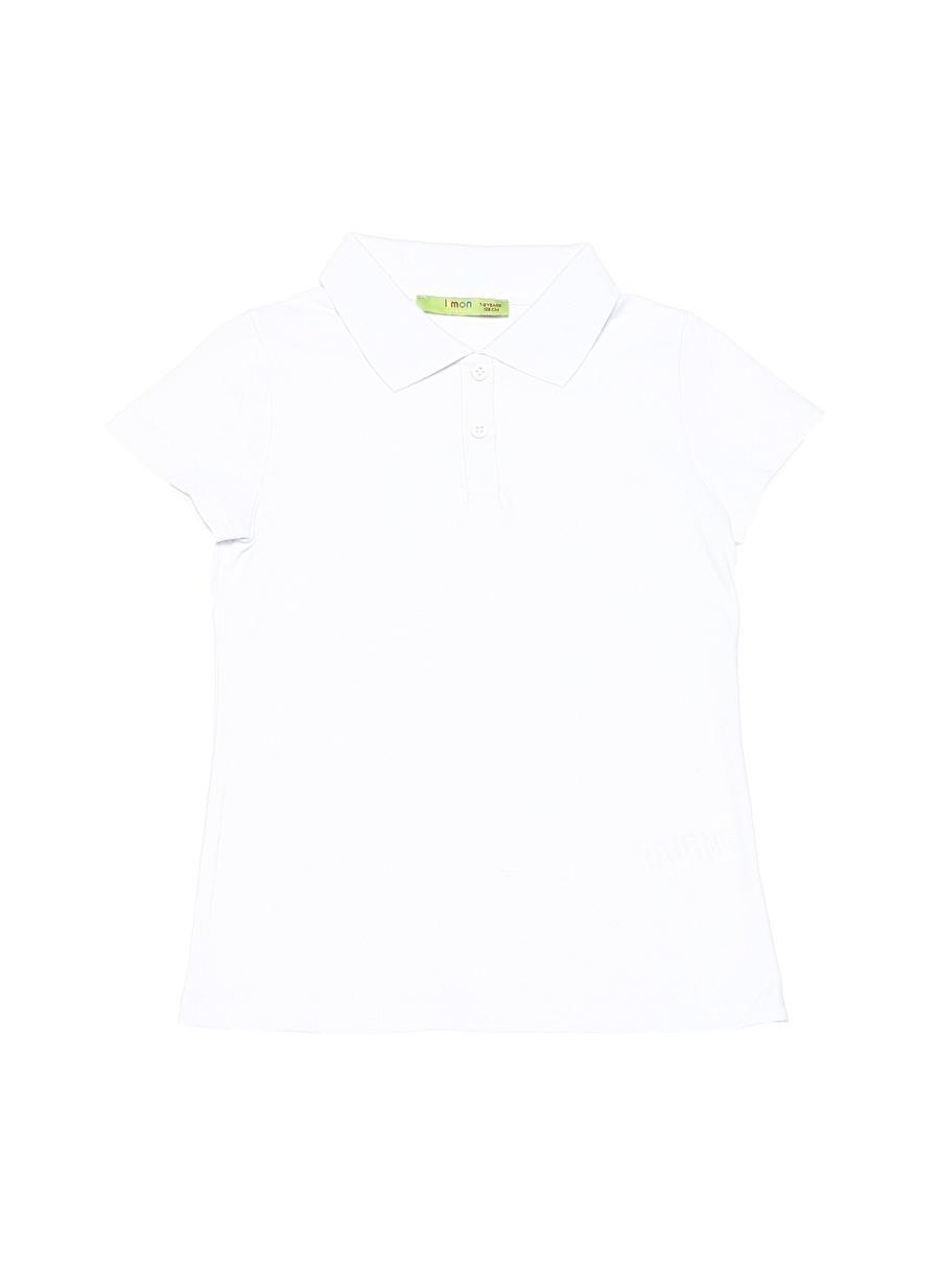 14 Yaş Kadın Beyaz Limon Kız Çocuk Polo Yaka T-Shirt Giyim T-shirt
