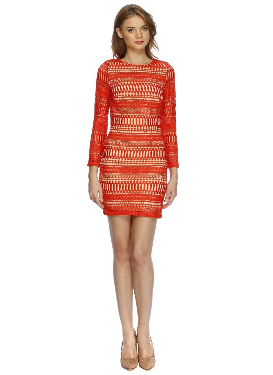 42 Kırmızı Lydc Sırt Detaylı Desenli Elbise Kadın Giyim