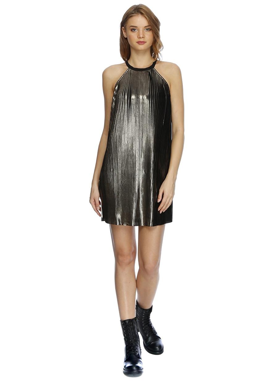 40 Bronz Lydc Pileli Parlak Elbise Kadın Giyim