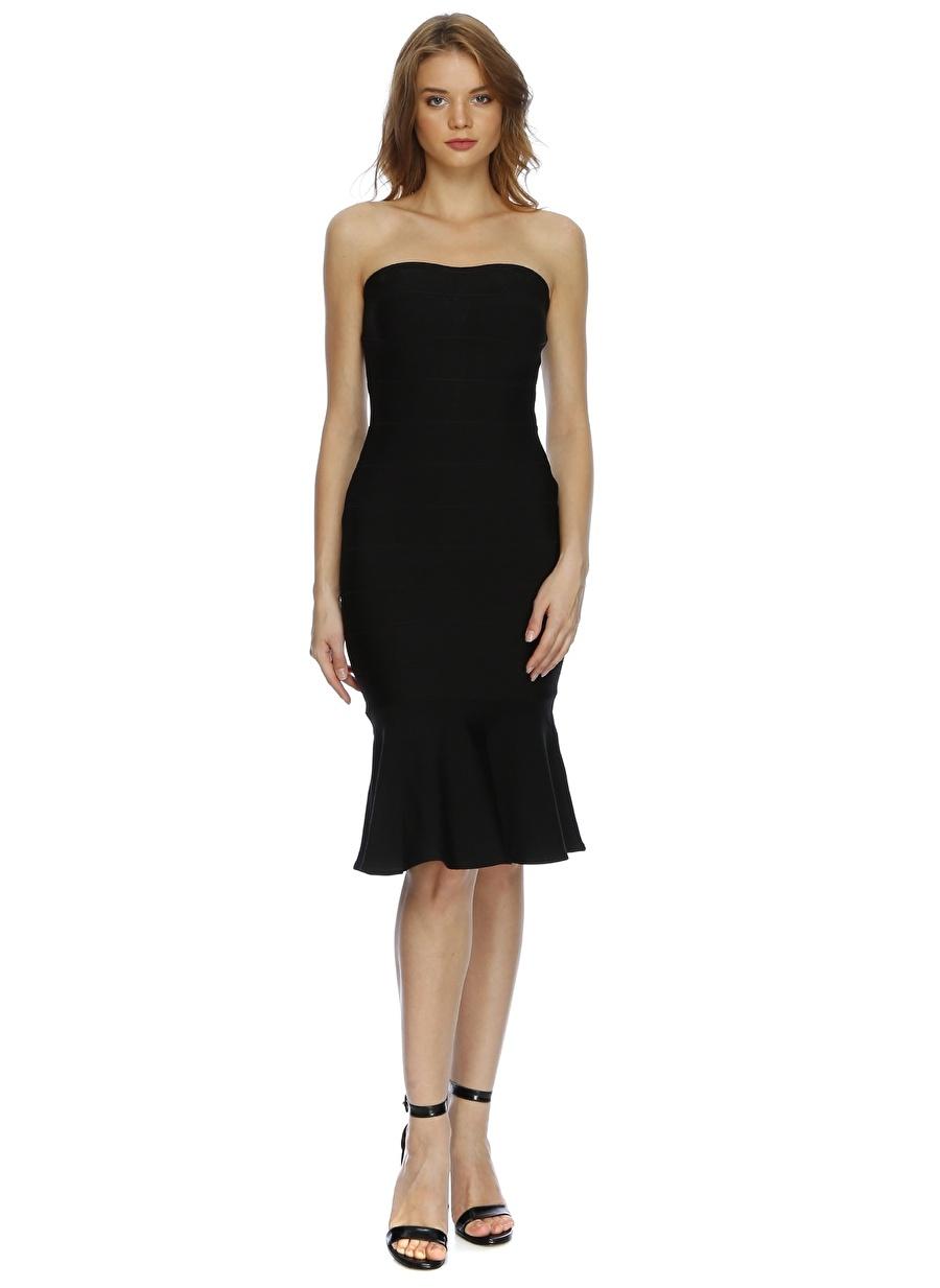 40 Siyah Lydc Straplez Elbise Kadın Giyim