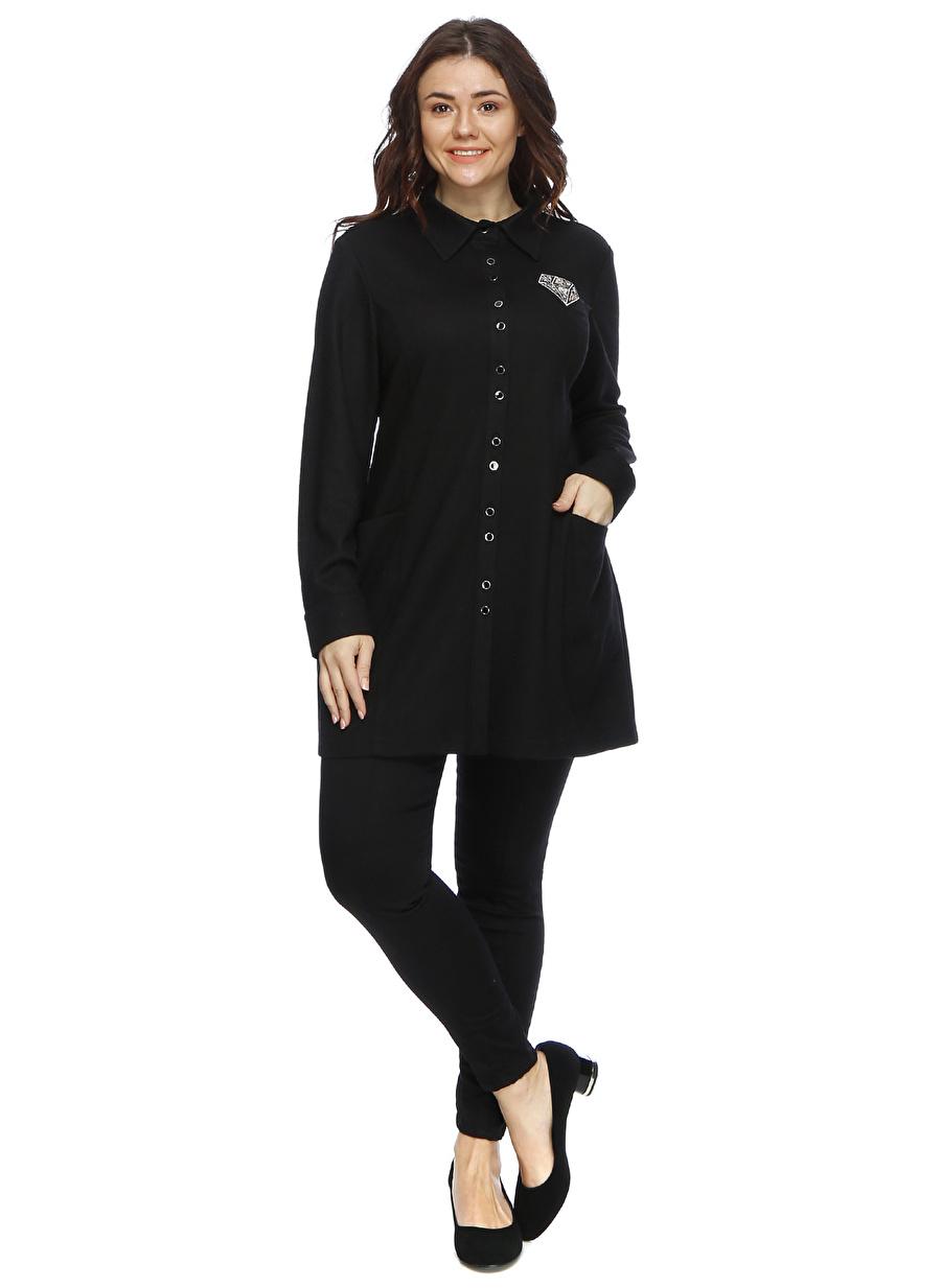 2 Siyah Ekol Dg İşlemeli Yakalı Pardösü Kadın Dış Giyim Trençkot