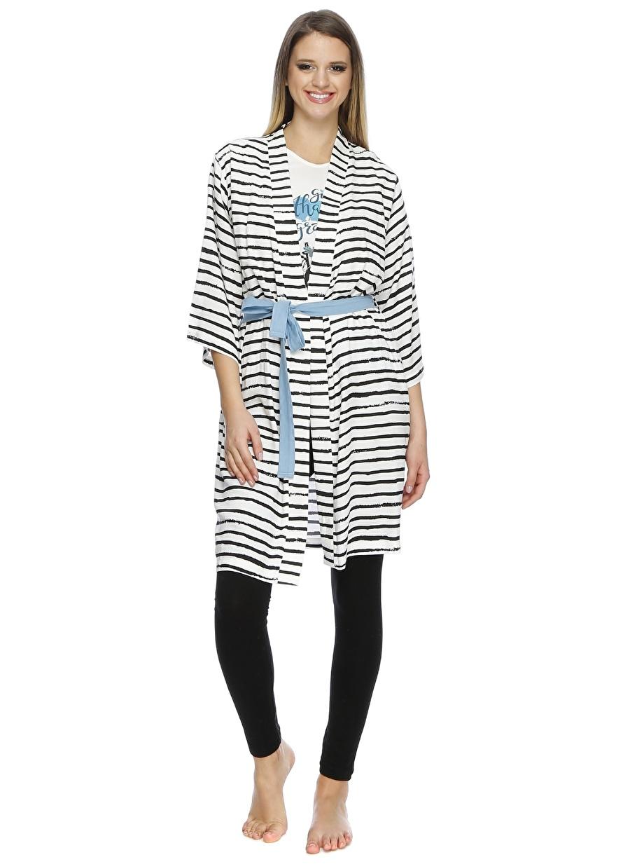 S Siyah - Beyaz Limon Sabahlık Kadın İç Giyim Pijama