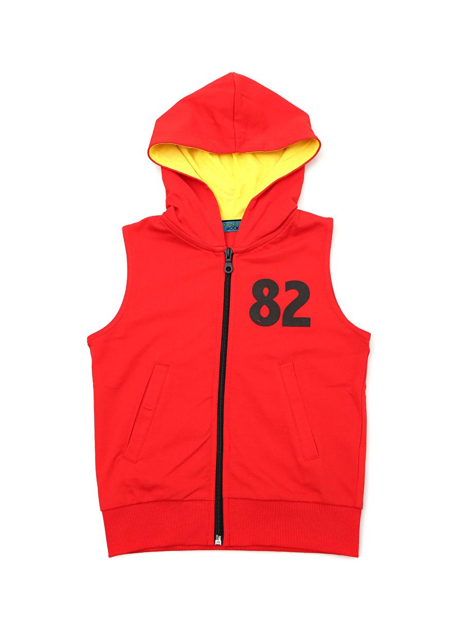 4 Yaş Erkek Kırmızı Funky Rocks Kapüşonlu Yelek Çocuk Giyim Ceket