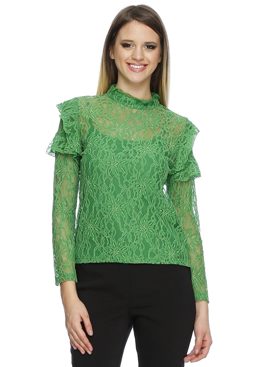 36 Yeşil Random Transparan Bluz Kadın Giyim Gömlek