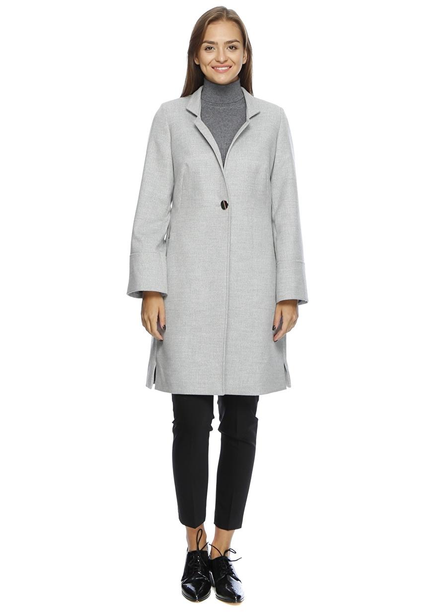 40 Gri Ekol Dg Pardösü Kadın Dış Giyim Mont Trençkot