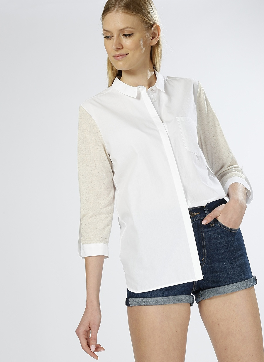 44 Koyu Ekru House Of Camellia Truvakar Kol Beyaz Tunik Kadın Giyim