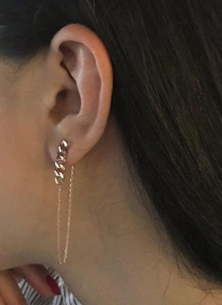 Standart Renksiz Gimora Mara Retro Chain Slim Earring Küpe Kadın Aksesuar Takı