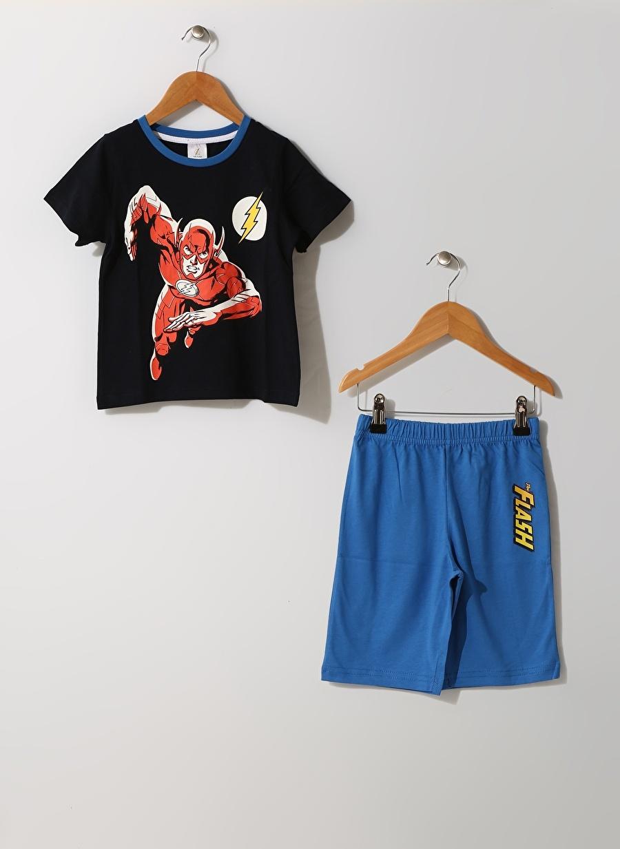 7-8 Yaş Koyu Lacivert Limon Erkek Çocuk Pijama Takımı Ev İç Giyim