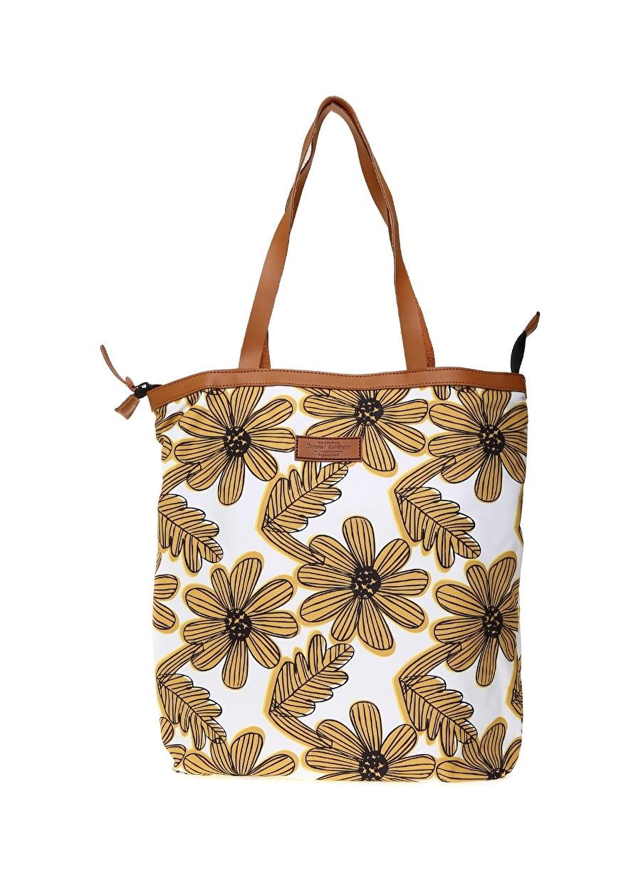 Standart Sarı Forever Cultivate Kadın Çiçek Desenli Renkli Tote Çanta Ayakkabı Omuz El Çantası