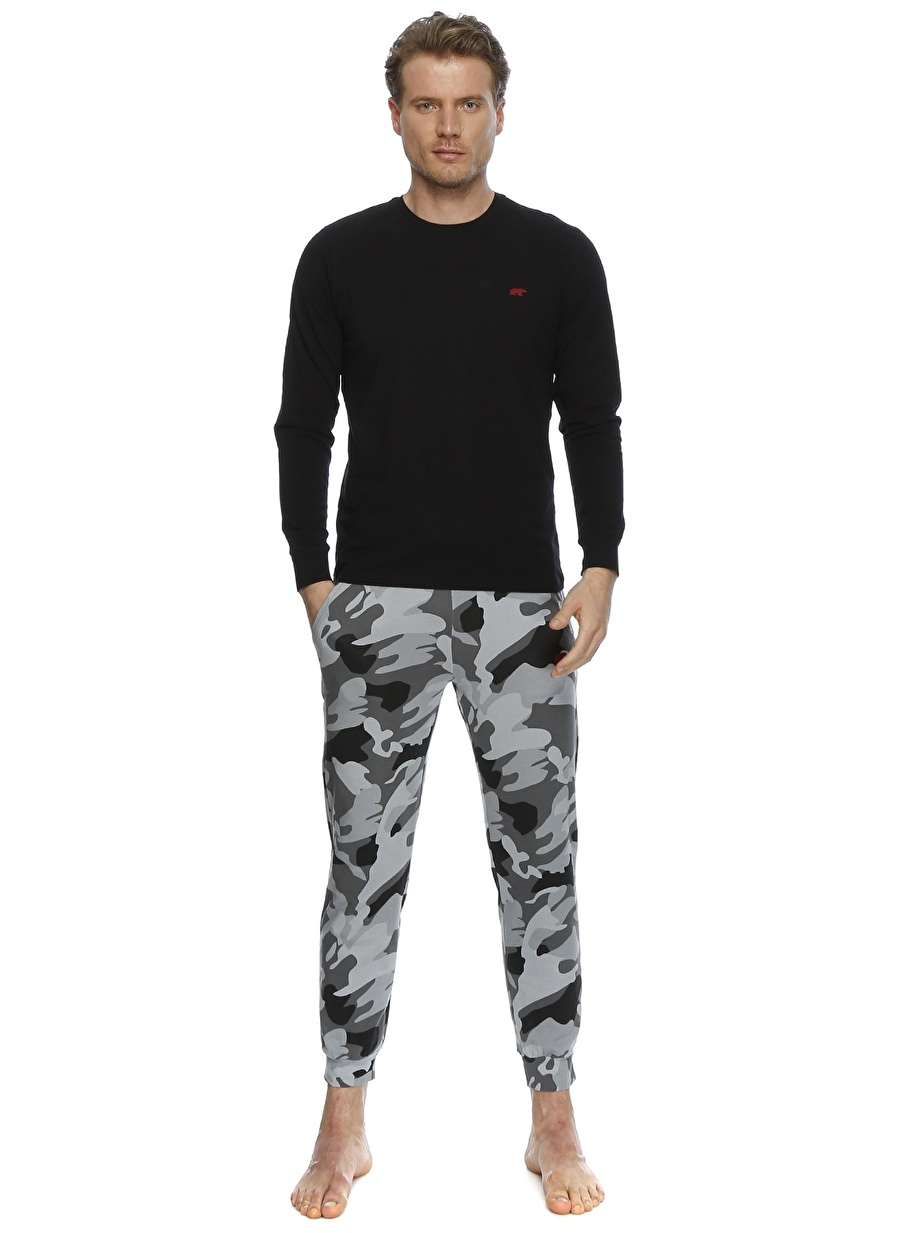 S Füme Melanj Bad Bear Kamuflaj Desenli Pijama Takımı Erkek İç Giyim