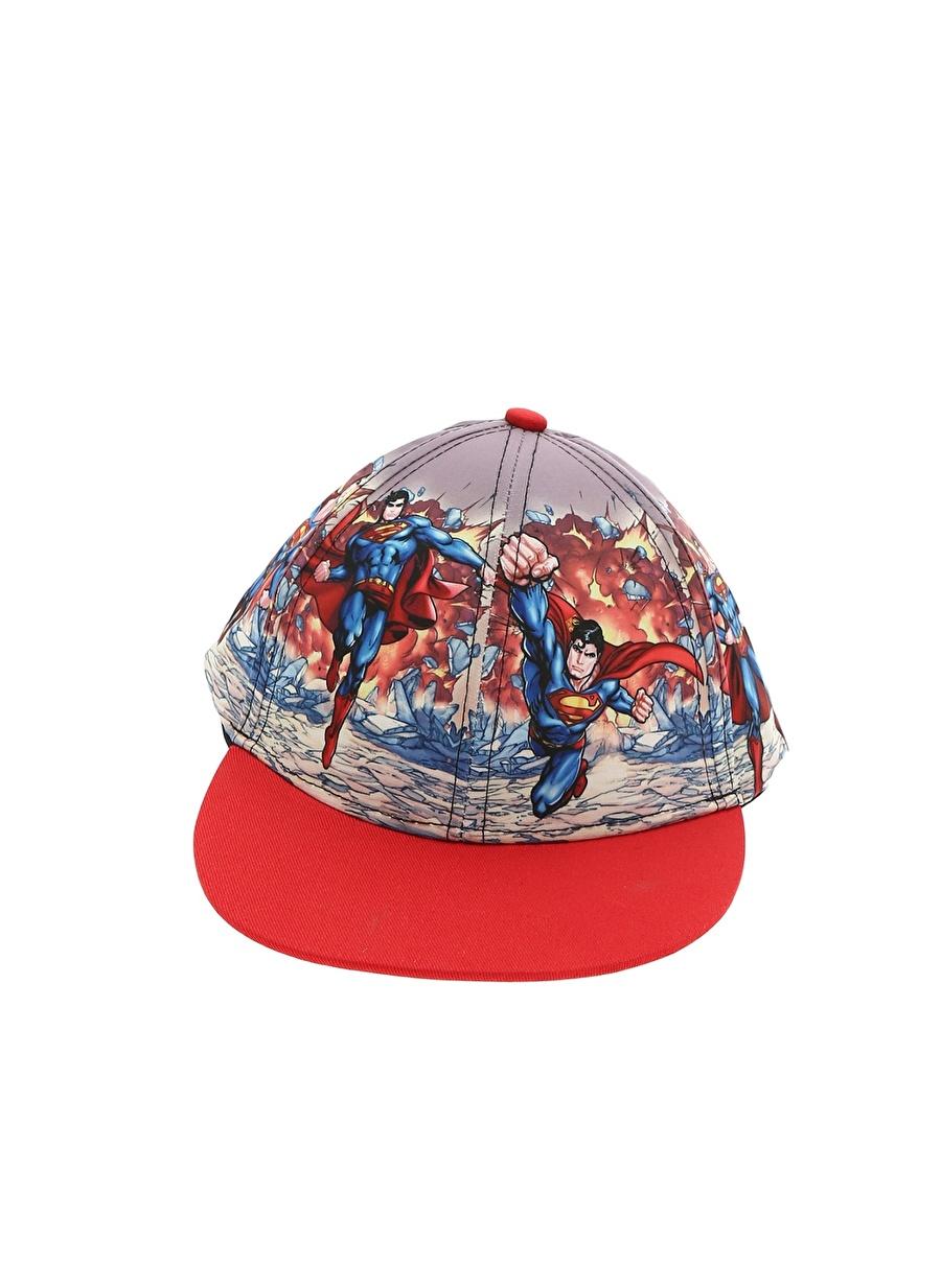 Standart unisex Kırmızı Koton Erkek Çocuk Süper-man Karakterli Şapka Aksesuar
