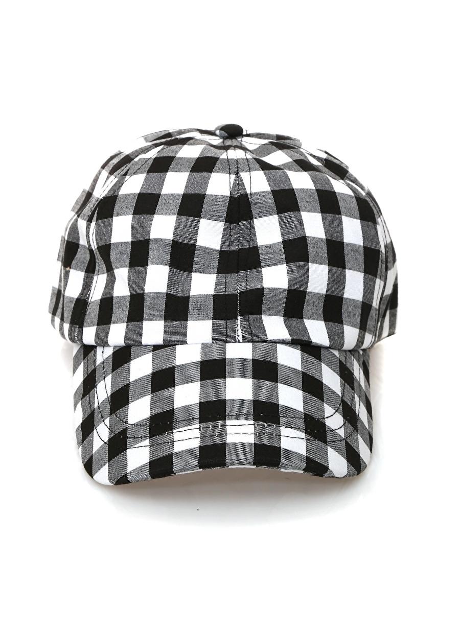Standart Siyah Koton Kareli - Beyaz Şapka Kadın Aksesuar