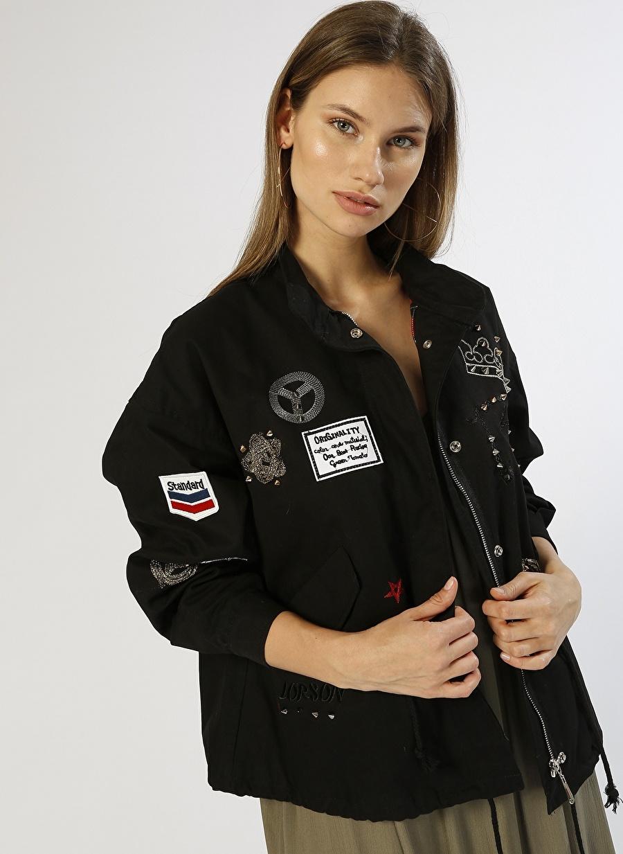 36 Siyah Ole Arma Detaylı Mont Kadın Dış Giyim