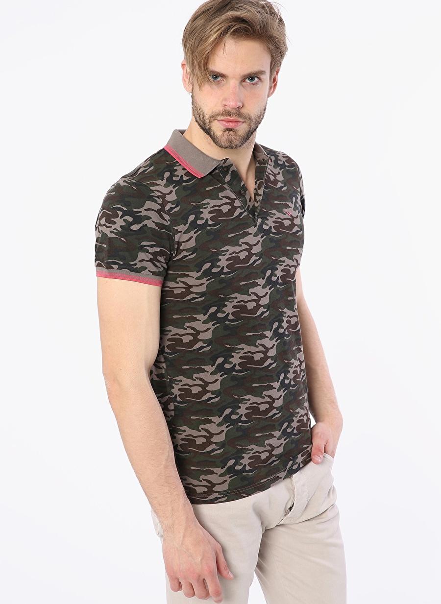 S Kahve Cazador Kamuflaj Desenli Haki T-Shırt Spor Erkek Giyim T-shirt
