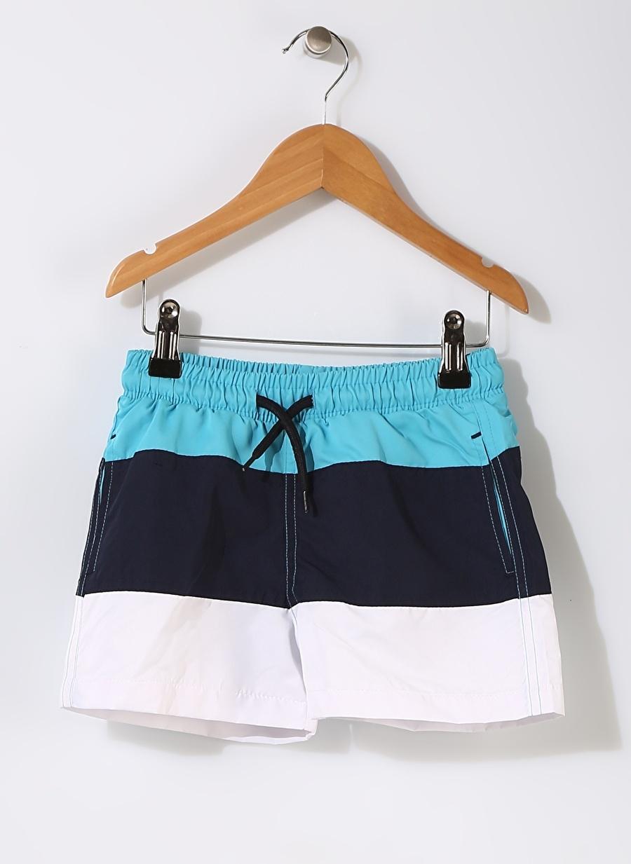 5 Yaş Çok Renkli Limon Erkek Çocuk Çizgili Şort Mayo Plaj Giyim