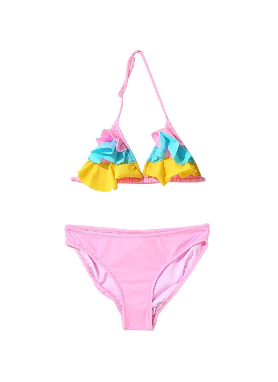 5 Yaş Kadın Çok Renkli Limon Kız Çocuk Fırfırlı Bikini Takım Plaj Giyim