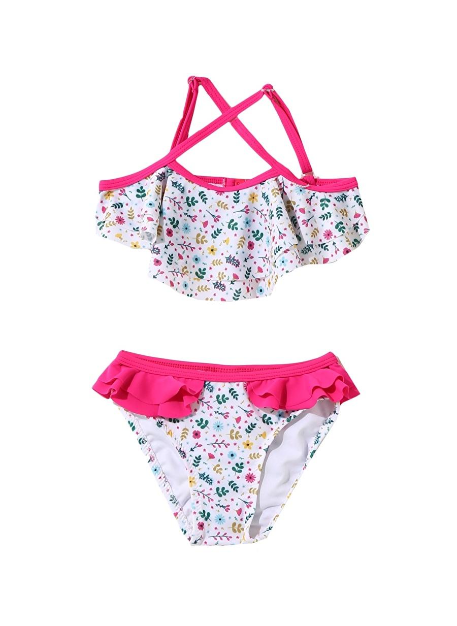 7-8 Yaş Kadın Çok Renkli Limon Kız Çocuk Çiçek Desenli Bikini Takım Plaj Giyim