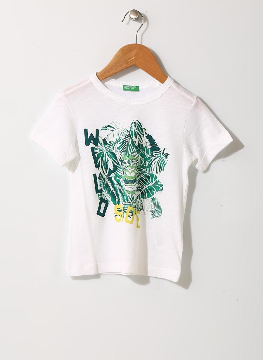 3 Yaş Beyaz Benetton Erkek Bebek Yaprak Baskılı T-Shirt Çocuk Giyim T-shirt