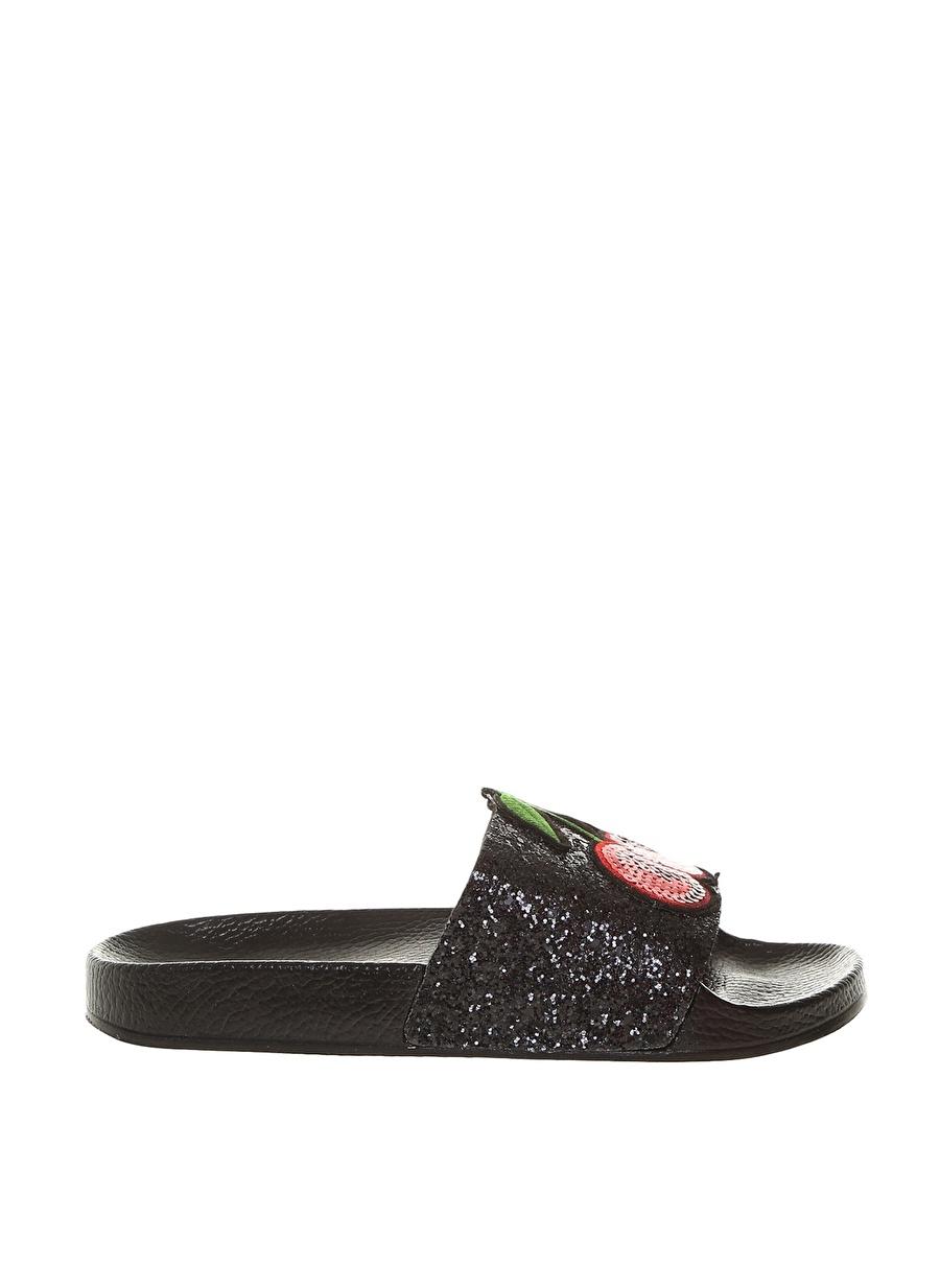 40 Siyah Frisbees Kadın Kirazlı Pullu Terlik Ayakkabı Çanta Sandalet